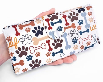 Cat Paws Bifold Wallet, Dog Fabric Long Wallet, Handmade Phone Organizer - paw print and bones in white