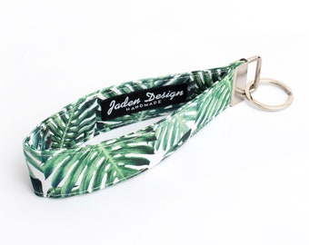 Green Leaf Key Chain, Plant Key Wrist Strap, Foliage Key Holder - green monstera leaves