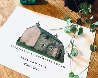 Cottage Painting Hand Painted, Cottage Watercolour, Illustration