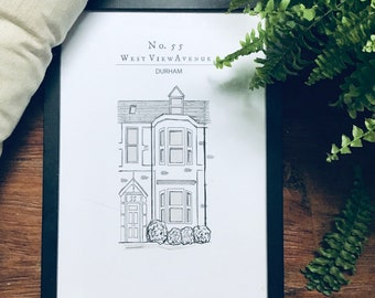 House Portrait, Custom House Illustration, New Home Gift, Personalised House Gift, A5 Portrait