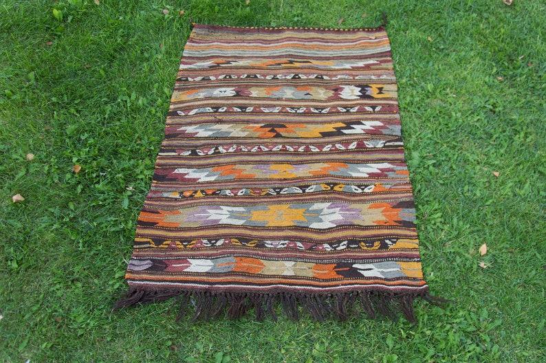 turkish rug 121 X 85 cm  4 X 2.8 ft colorful rug oushak rug rugs Vintage old rug handmade rug
