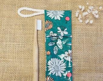 Waterproof toothbrush case * FLOWERS PETROL