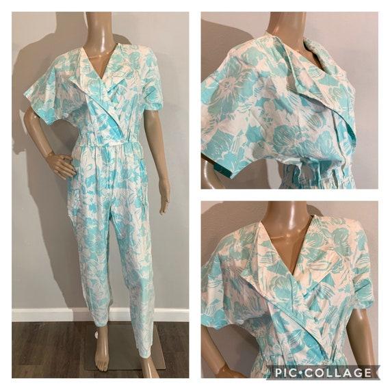 Vintage Floral Hawaiian Print Teal Blue Jumpsuit R