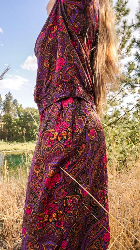 Vintage Paisely 2 Piece 1980s Floral Pant Suit Pl… - image 5