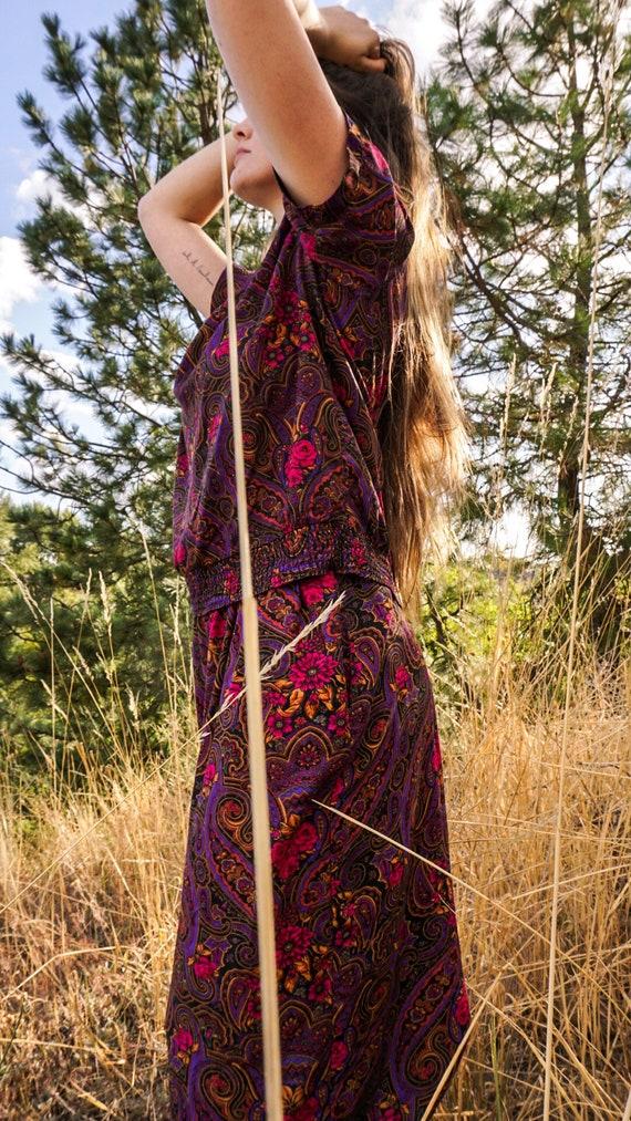 Vintage Paisely 2 Piece 1980s Floral Pant Suit Pl… - image 3