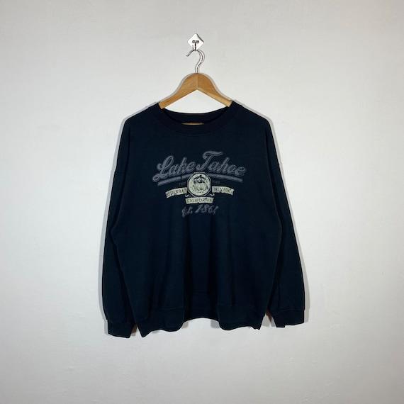 Large 90/'s Lake Tahoe California Nevada men/'s sweatshirt vintage crewneck 1990/'s Crazy Shirts Sweats white CA NV tree mountains
