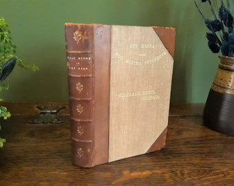 """Antique natural history sea book, Half Hours in the Deep, 1898, Victorian, nature, science, marine, sea creatures, hardback, leather, 7x5"""""""