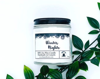Winter Nights Soy Candle, Zen Candle, Hand-poured Soy Candle, Vegan Candle, Holiday Candle, Christmas Candle, Candle For Mom, Candle For Dad