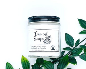 Tropical Escape Soy Candle, Zen Candle, Hand-poured Soy Candle, Vegan Candle, Candle For Mom, Candle For Dad, Father's Day Gift