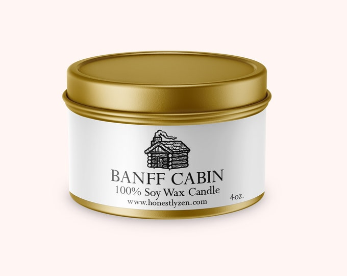 Banff Cabin Soy Candle, Handmade Soy Candle, Mountain Candle, Luxury Soy Candle in Gold Tin, Cedarwood Candle, Vegan Candle, Gift Candle
