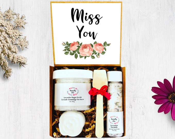 Miss You Spa Gift Set, Zen Care Package, Natural Handmade Spa Gift Box, Spa Gift Box for Women, Miss You Care Package, Wedding Gift