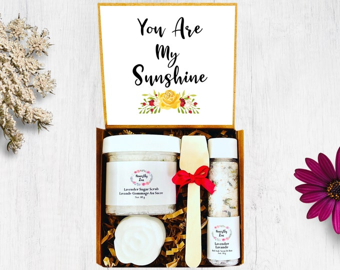 You Are My Sunshine spa Gift Set, Honestly Zen Care Package, Natural Handmade Products, Gift Box for occasions