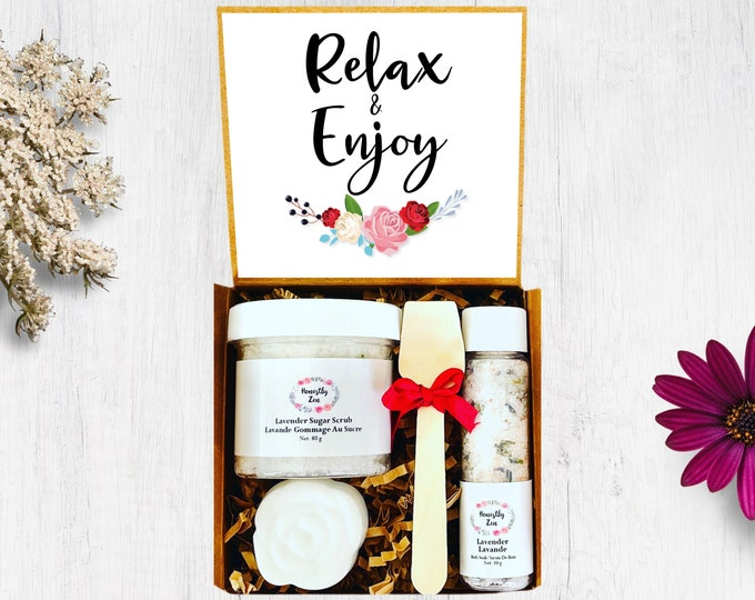 Relax And Enjoy Spa Gift Set, Zen Care Package, Retirement Gift Box, Spa Gift Box For Women , Thinking Of You Care Package, Wedding Gift