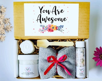 You Are Awesome Spa Gift Set , Honestly Zen Care Package, Natural Handmade Products, Gift Box for occasions
