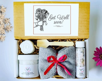Get Well Soon Spa Gift Set, Honestly Zen Care Package, Natural Handmade Products, Gift Box for occasions, Thinking of You, Recovery gift