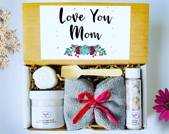 Love You Mom Spa Gift Set, Handmade Spa Gift Box For Mom, Mom Care Package, Mothers Day Gift Box, Spa Gift box for Mom, Care Package For Her