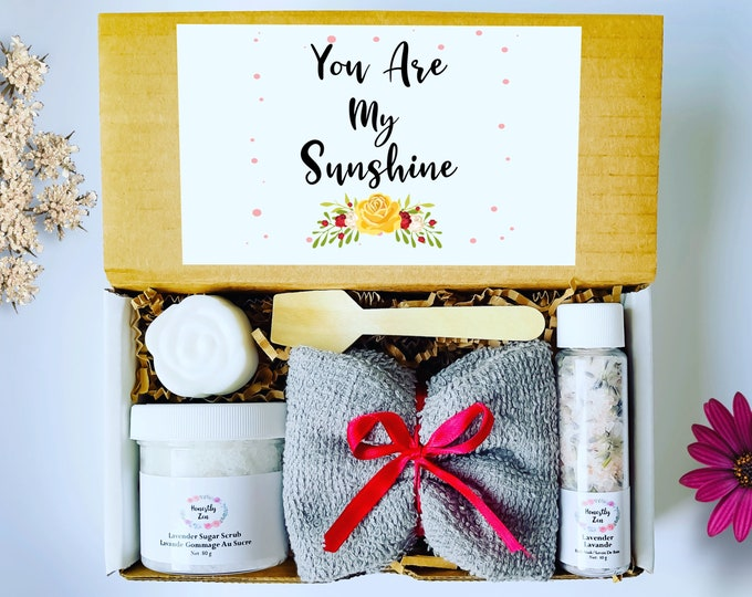 You Are My Sunshine Spa Gift Box, Zen Care Package, Natural Handmade Products, You Are My Sunshine Spa Gift Set, Spa Gift Box For Her
