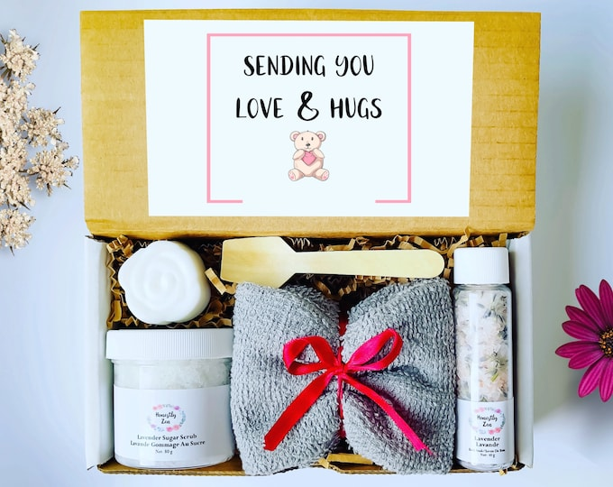 Sending You Love And Hugs Spa Gift Set, Zen Care Package, Spa Gift Box For Women, Thinking Of You Care Package, Miss You Care Package