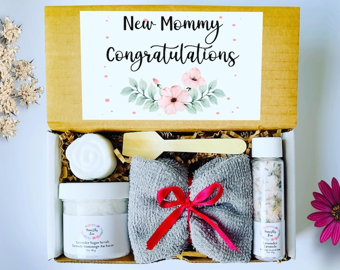 New Mom Congratulations Spa Gift Set,  Postpartum Care Package, Pregnancy Care Package, Gift For New Mom, Mom To Be Gift, Natural spa gift