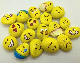 Personalised Emoji Stones of your Choice - Hand painted customisable rocks - Face Rocks - Emoji Rocks - Personal sable Painted Rocks