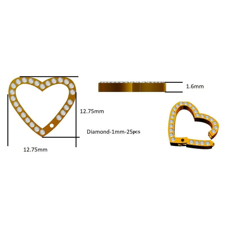 ON SALE Diamond Elongated Heart 14K Solid Gold Enhancer Charm Pendant Connector ~ Durable Chain Enhancer Multiple Charms Thick Links