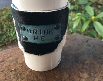 "Handcrafted ""Drink Me"" leather cowhide coffee drink sleeve"