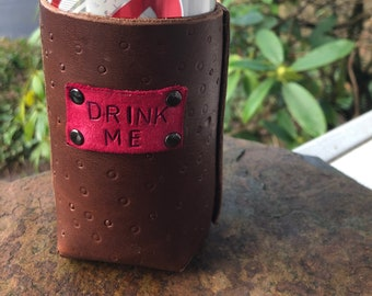 Stitched and stamped leather can drink holder coozie