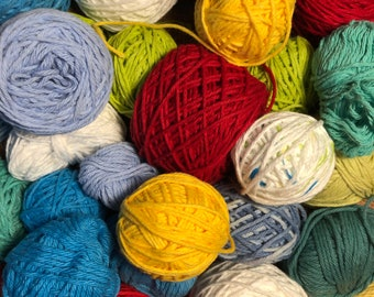 Cotton Yarn grab bag mystery colors / 3.5 to 4 oz yarn for washcloths, knitting, scrapbooking, weaving, craft, and more