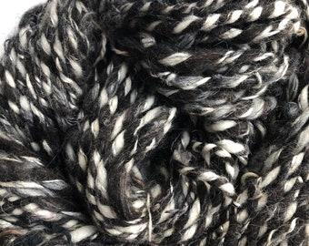 Black White Silver Variegated Handspun Recycled Art Yarn: Mixed Fiber Wool Linen Acrylic