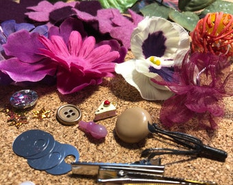 DIY Hair Flower Clip Kit // Recycled Materials // Pink and Purple