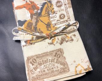 Pony Express western cowboy horse train upcycled retro vintage cloth fabric napkins -- set of 6