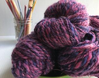 "Pink and Purple Variegated Handspun Yarn English Leicester Wool  ""Cedric"""