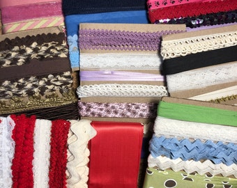 Trim Pack: Ribbon, Rick Rack, Lace, Bias Tape for sewing, scrapbooking, and craft
