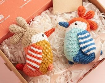 Colorful Blue Orange Woodpecker Chicken Stuffed Crochet Animal - handmade organic home decor, birthday, baby gift