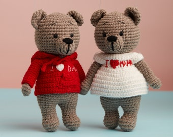 """Teddy bear couple - stuffed brown bear wearing dress """"I love mom"""" """"I love dad"""", Mother's Day and Father's Day gift, graduation present"""