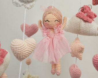 Baby girl mobile  - fairy and cloud mobile for mom to be gift, nursery room decor