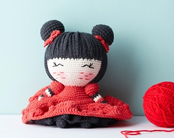 Red Princess Doll - Pucca Plush Doll, Handmade Crochet Doll for baby waldorf toys, baby shower