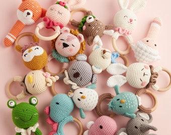 Safari animal newborn baby rattle ring for boy and girl - elephant, koala, bunny, lion, frog, fox, dinosaur, bird, bear, deer, owl