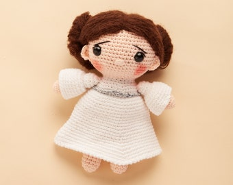 Handmade angel crochet doll in white dress - bridesmaid, wedding, graduation gift for her