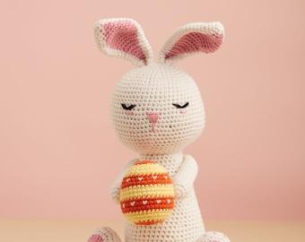 White Easter Bunny holding vintage egg - gift basket idea for baby first Easter Thanksgiving Christmas, baby shower, gift for her
