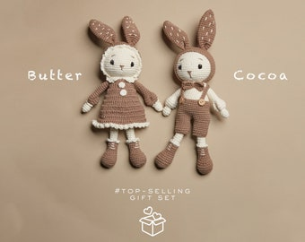 Couple Brown Bunny Plush - crochet bunny doll, pet rabbit toys, animal crossing for baby shower gift box stuffer