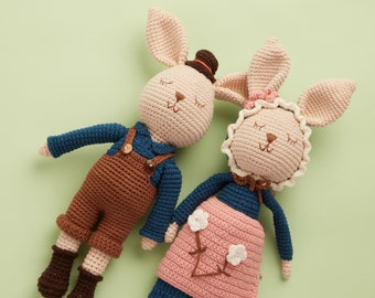 Bunny mom and dad handmade crochet doll animal - parents gift for daughter college graduation gift