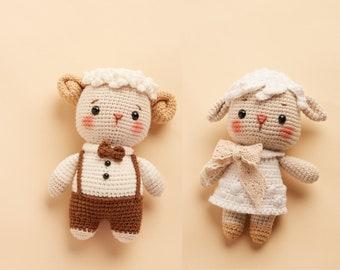 White sheep stuffed animal amigurumi - small soft crochet animal doll for couple gift, wedding gift, or graduation gift