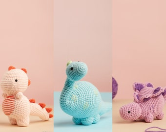 Dinosaur stuffed animal - crochet dino plush pink T-rex, blue Brontosaurus, purple Stegosaurus for kids gift