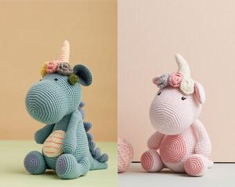 Pink blue dinosaur stuffed animal - dragon plush doll, animal toys, handmade dolls for girl gift