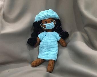 Hospital patient crochet black doll (limited edition)