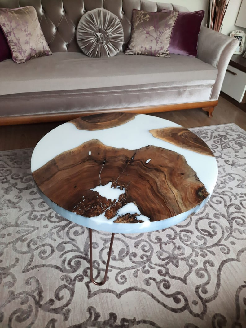 Epoxy Coffee Table Made with White Resin, Blue Wave Epoxy Table