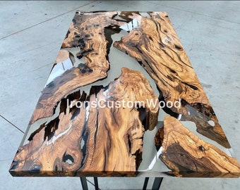 Made to order Olive Epoxy Table, Custom Live edge Epoxy Resin Dining Table