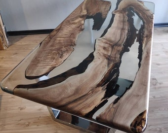 Epoxy Coffee Table with Clear Resin River, Custom Live Edge Walnut Wooden slab, End Table, Center Table