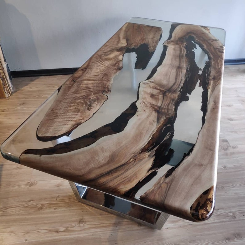 Epoxy Coffee Table with Clear Resin River design and Live Edge